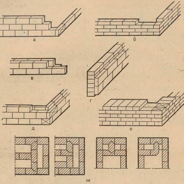 Фото первичной кладки стенок разной толщины