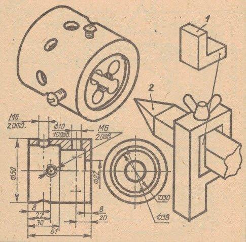 Фото и чертеж приспособления для изготовления круглых палок второй вариант