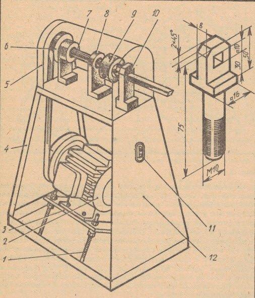 Фото и схема приспособления для изготовления круглых палок