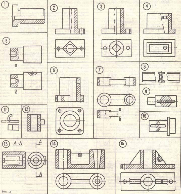Примеры различных комбинаций видов, разрезов, сечений на главном изображении