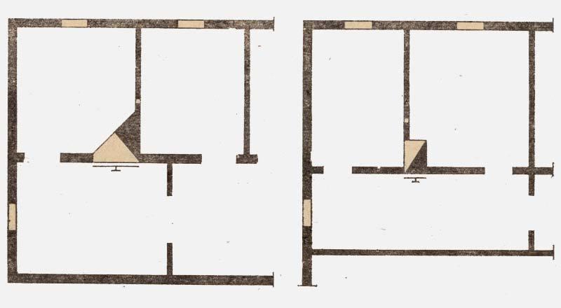 Фото по установке угловой и прямоугольной печей, отапливающих три комнаты