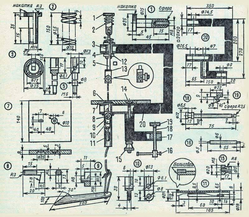 Фото и чертеж педального лобзика