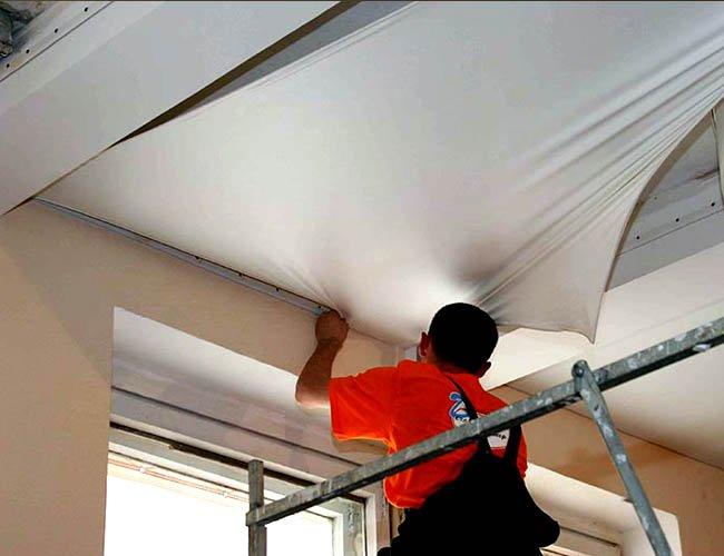 Как сделать натяжной потолки 128